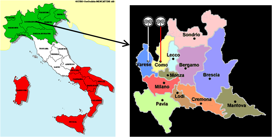 Uninsubria location maps